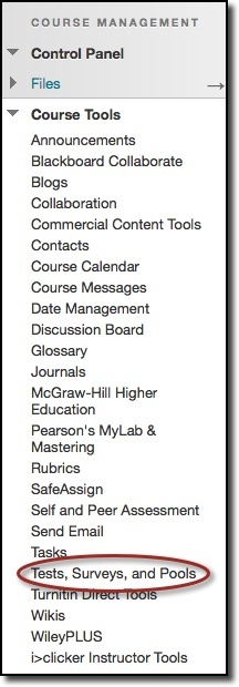 Course Tools dropdown menu, test, surveys, and pools highlighted
