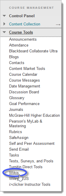Blackboard Course Menu with Wikis tool link circled