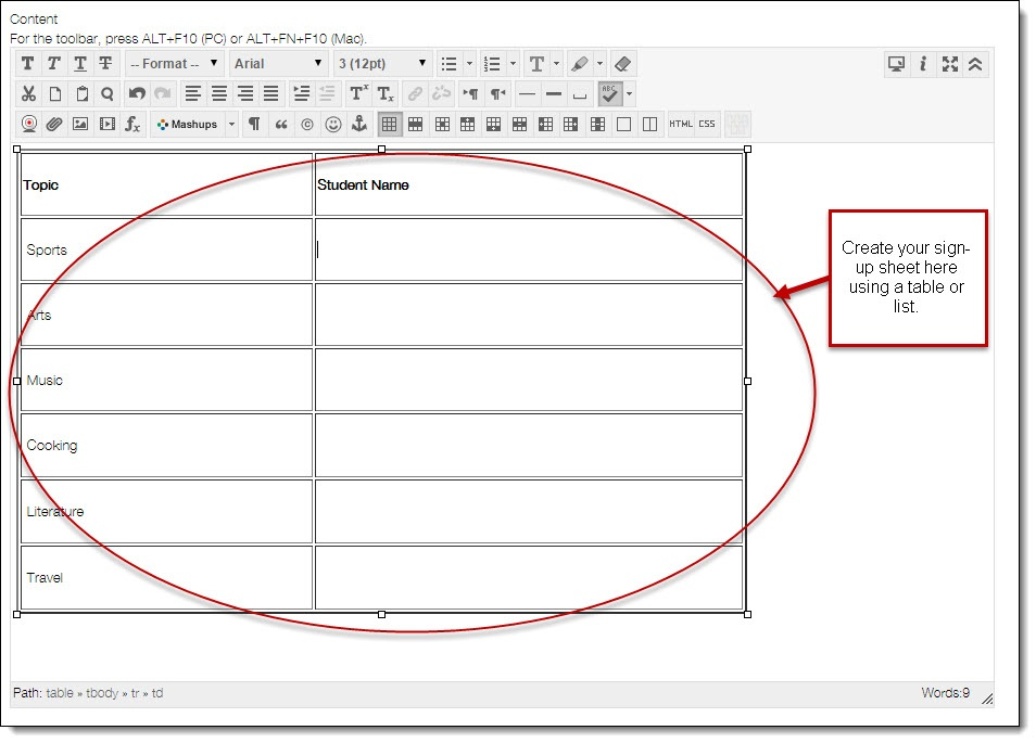 Content Editing Area With Table Format  Create A Sign In Sheet