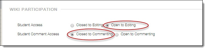 Access and Comments options
