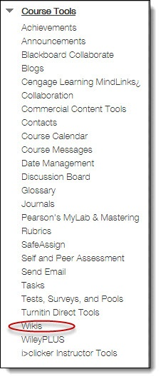Course Tools menu, wikis option highlighted