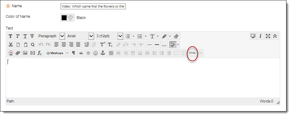 Click on the HTML button in the text editor