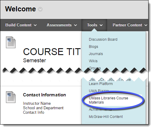 Tools dropdown menu, with UMass Libraries course materials circled