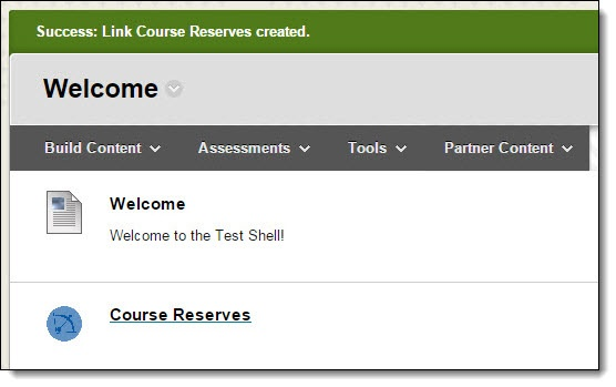 Welcome page, with course reserves link