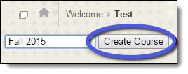 Create course button circled